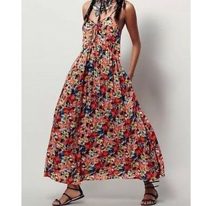 Free People Orange Floral Mulberry Maxi Dress